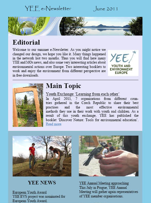 YEE e-Newsletter cover